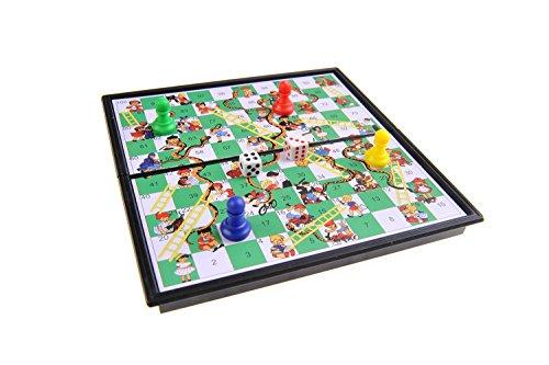 Magnetisches Brettspiel (Super Mini Reise-Edition): Leiterspiel / Schlangen und Leitern / Snakes and Ladders - magnetische Spielsteine, Spielbrett zusammenklappbar, 13cm x 13cm x 1, 2cm, Mod. SC5230 (DE)