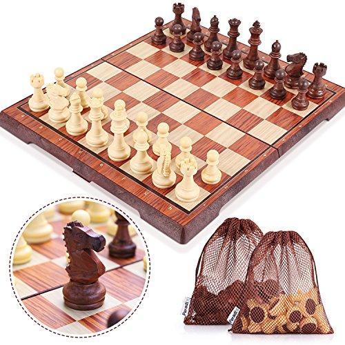 Peradix Schachspiel mit Aufbewahrungsbeutel Magnetischem Einklappbar Deluxe Schachbrett mit Aufbewahrungsbeutel Schach für Kinder ab 6 Jahre und Erwachsene, aus WPC (35*30cm Braun)