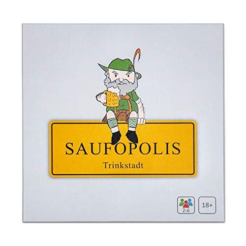 SAUFOPOLIS – Trinkspiel für den ultimativen Abend | Brettspiel - Partyspiel - Kartenspiel - Saufspiel - Für Erwachsene ab 18 Jahren