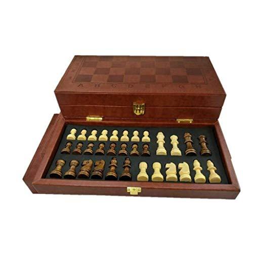 MAZ Schach Falten Leder Schach Set Stücke Set Brettspiel Lustige Spiel Chessmen Sammlung Tragbare Brett Spiel Schach Set,29 cm
