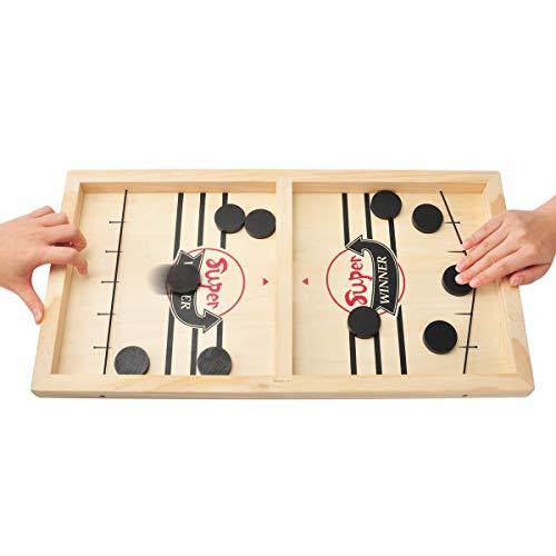 MOMSIV Schnelles Fast Sling Puck-Spiel, Lustiges hölzernes Sling Puck-Gewinner-Brettspiel Brettspiel Tisch Eltern-Kind Interaktives Spielzeug-Partyspiel für Erwachsene