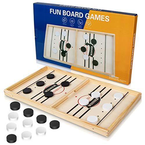 iNeego Schnelles Fast Sling Puck-Spiel, Lustiges hölzernes Sling Puck-Gewinner-Brettspiel Brettspiel Tisch Eltern-Kind Interaktives Spielzeug-Partyspiel für Erwachsene(30x54cm)