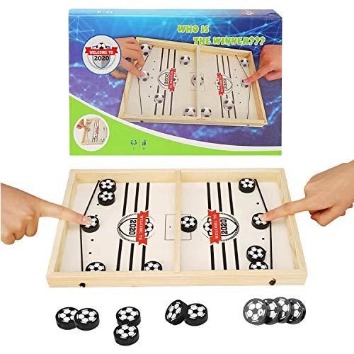 colmanda Brettspiel Hockey, Fast Sling Puck Game, Katapult Brettspiel, Tisch Hockey Brettspiel Katapult Schach, Portable Board Games aus Holz Brettspiel Schnell, Hockey Game für Kinder & Familie (2)