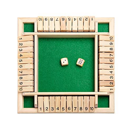 Deluxe 2-4-Spieler Shut The Box Holz Tisch Spiel Klassisch Würfelspiel Board Spielzeug Brettspiel Pädagogisches Interessantes Spielzeugwürfelspiel,8,85x8,85x1,37 Zoll