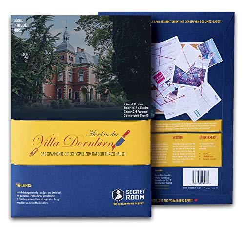 Secret Room Detektiv Spiel - Rätselbuch Mord in der Villa Dornbirn - Escape Room Spiel - Spannendes Rätsel Spiel - Gesellschaftsspiel für Erwachsene und Kinder - Tatort Krimi Spiel