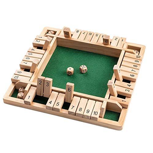 lzndeal Shut The Box Würfelspiel, Holz Brettspiel EIN klassisches Familien-Mathe-Spiel für Kinder Family Party Gift Durable