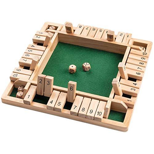 YE&ZI Holz-Brettspiel, 12-Zoll-4-Wege-Würfel-Brettspiel (2-4 Spieler) für Kinder und Erwachsene, intelligentes Spiel zum Lernen, Holzmathematisches traditionelles Pub-Brettspiel (Wood)