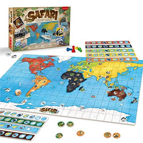 JUEGACONMIGO Safari, das Spiel der Tiere. Welttiere Lernen und Strategie Brettspiel.